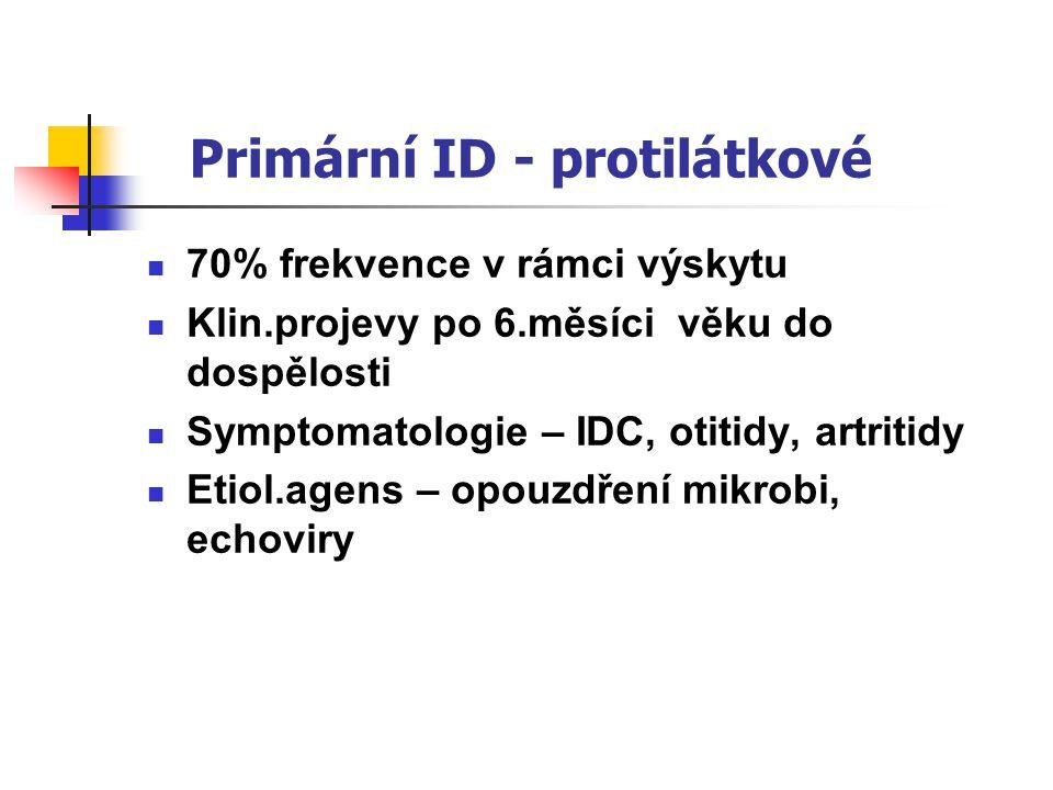 Primární ID - protilátkové 70% frekvence v rámci výskytu Klin.projevy po 6.měsíci věku do dospělosti Symptomatologie – IDC, otitidy, artritidy Etiol.agens – opouzdření mikrobi, echoviry