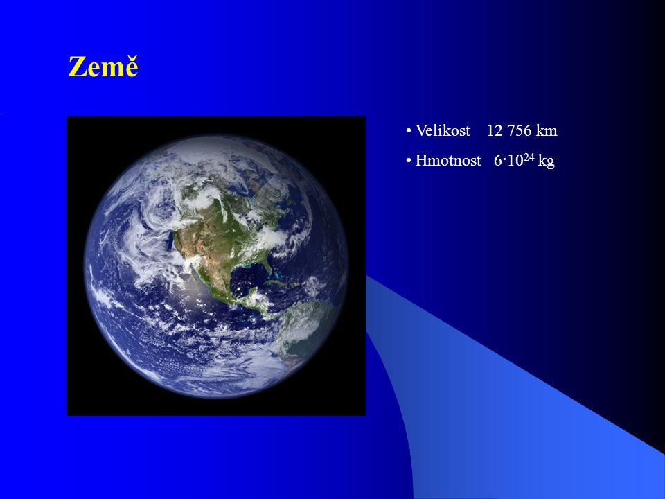 Vzdálenost Země - Měsíc 384 000 km = 1 sv. s 7·10 22 kg 3 476 km