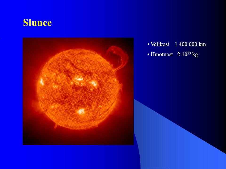 Slunce Velikost 1 400 000 km Hmotnost 2·10 33 kg