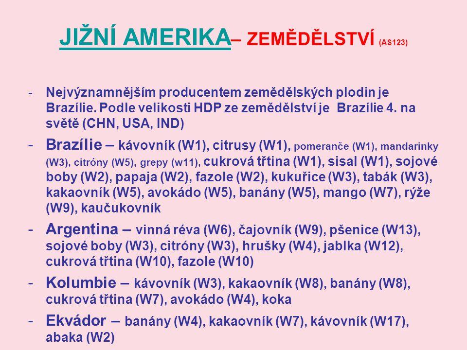JIŽNÍ AMERIKA JIŽNÍ AMERIKA – ZEMĚDĚLSTVÍ (AS123) -Nejvýznamnějším producentem zemědělských plodin je Brazílie. Podle velikosti HDP ze zemědělství je
