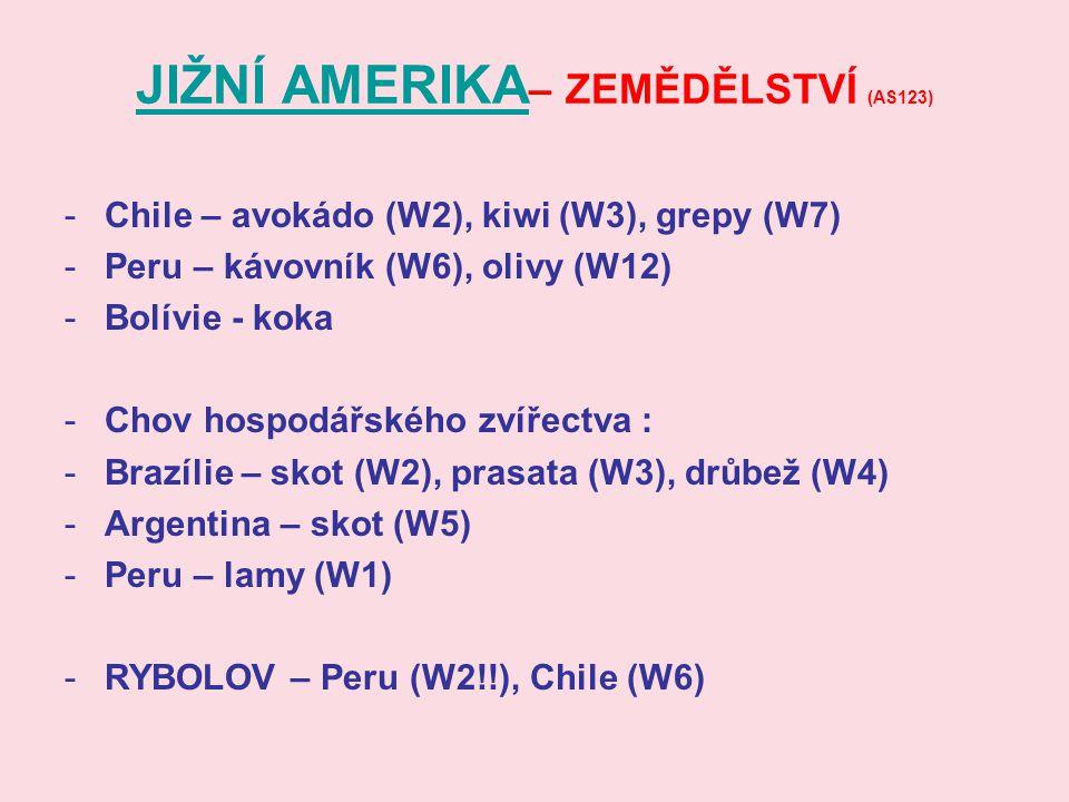 JIŽNÍ AMERIKA JIŽNÍ AMERIKA – ZEMĚDĚLSTVÍ (AS123) -Chile – avokádo (W2), kiwi (W3), grepy (W7) -Peru – kávovník (W6), olivy (W12) -Bolívie - koka -Cho