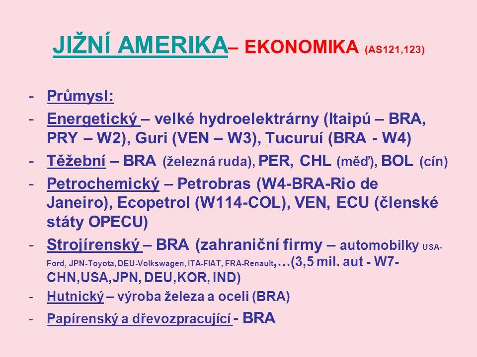 JIŽNÍ AMERIKA JIŽNÍ AMERIKA – EKONOMIKA (AS121,123) -Průmysl: -Energetický – velké hydroelektrárny (Itaipú – BRA, PRY – W2), Guri (VEN – W3), Tucuruí