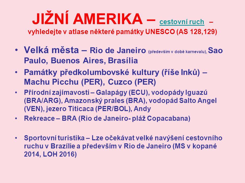 JIŽNÍ AMERIKA – cestovní ruch – vyhledejte v atlase některé památky UNESCO (AS 128,129) cestovní ruch Velká města – Rio de Janeiro (především v době k