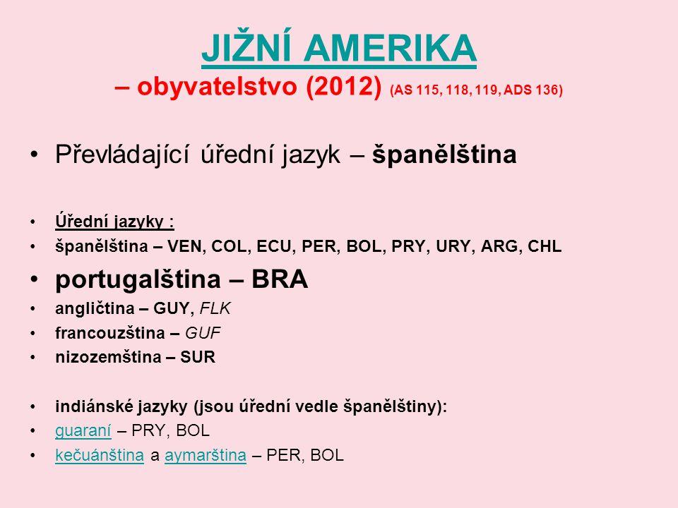 JIŽNÍ AMERIKA JIŽNÍ AMERIKA – obyvatelstvo (2012) (AS 115, 118, 119, ADS 136) Převládající úřední jazyk – španělština Úřední jazyky : španělština – VE