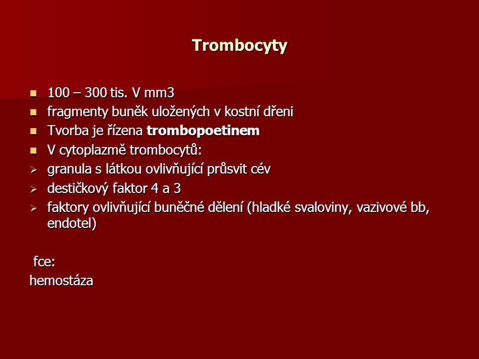 Trombocyty 100 – 300 tis.V mm3 100 – 300 tis.