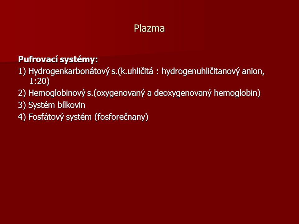 Plazma Pufrovací systémy: 1) Hydrogenkarbonátový s.(k.uhličitá : hydrogenuhličitanový anion, 1:20) 2) Hemoglobinový s.(oxygenovaný a deoxygenovaný hemoglobin) 3) Systém bílkovin 4) Fosfátový systém (fosforečnany)