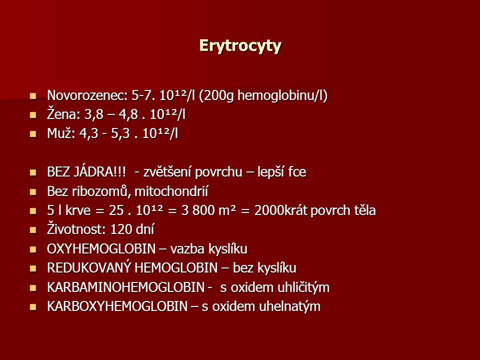 Erytrocyty Novorozenec: 5-7.10¹²/l (200g hemoglobinu/l) Novorozenec: 5-7.