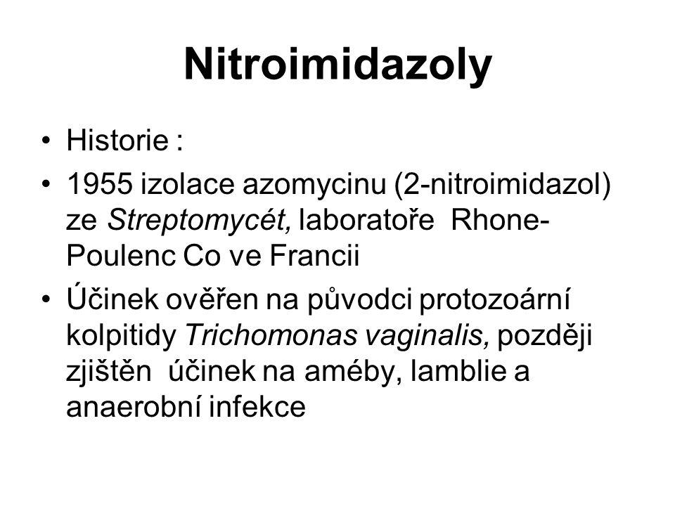 Nitroimidazoly Historie : 1955 izolace azomycinu (2-nitroimidazol) ze Streptomycét, laboratoře Rhone- Poulenc Co ve Francii Účinek ověřen na původci p