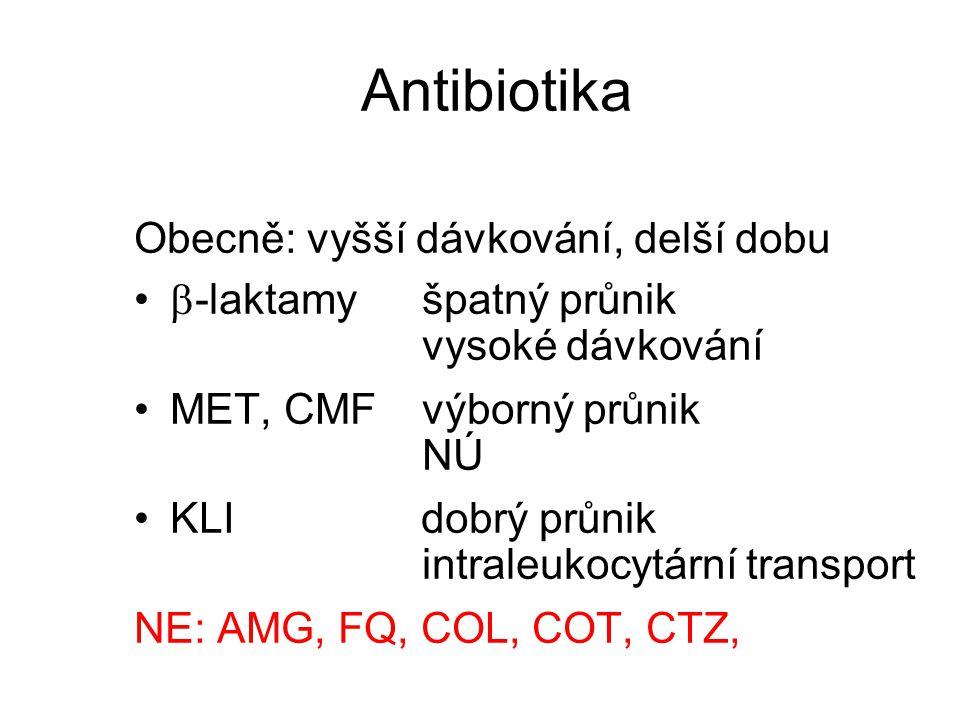 Antibiotika Obecně: vyšší dávkování, delší dobu  -laktamyšpatný průnik vysoké dávkování MET, CMFvýborný průnik NÚ KLI dobrý průnik intraleukocytární