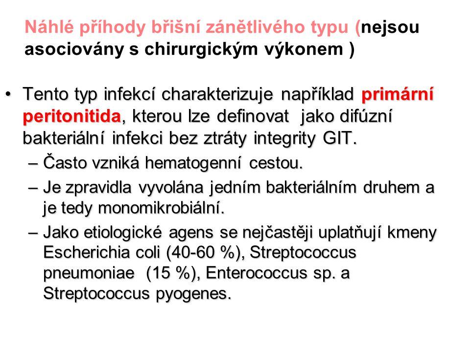 Náhlé příhody břišní zánětlivého typu (nejsou asociovány s chirurgickým výkonem ) Tento typ infekcí charakterizuje například primární peritonitida, kt