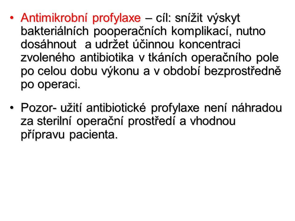 Antimikrobní profylaxe – cíl: snížit výskyt bakteriálních pooperačních komplikací, nutno dosáhnout a udržet účinnou koncentraci zvoleného antibiotika