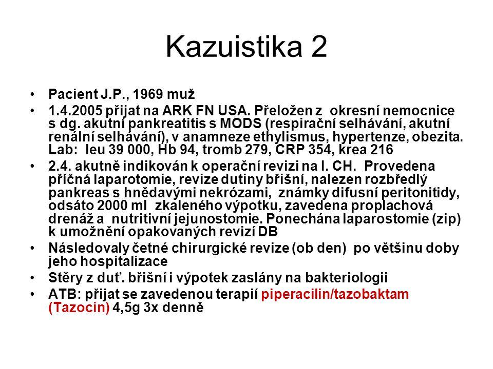 Kazuistika 2 Pacient J.P., 1969 muž 1.4.2005 přijat na ARK FN USA. Přeložen z okresní nemocnice s dg. akutní pankreatitis s MODS (respirační selhávání