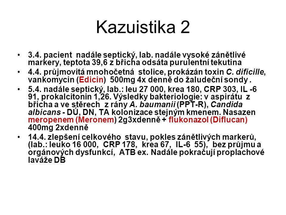 Kazuistika 2 3.4. pacient nadále septický, lab. nadále vysoké zánětlivé markery, teptota 39,6 z břicha odsáta purulentní tekutina 4.4. průjmovitá mnoh