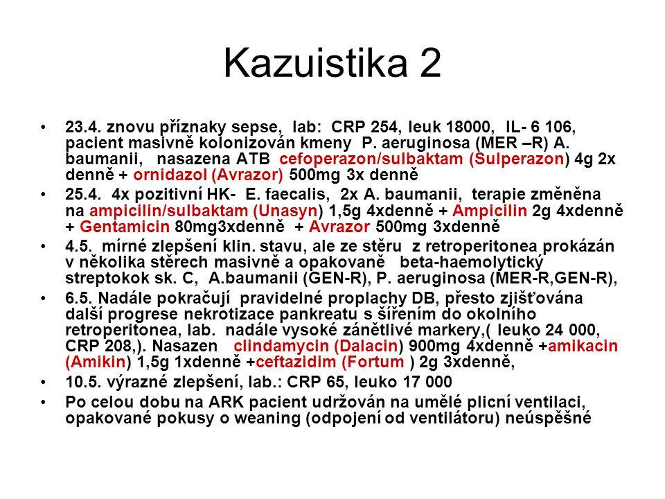 Kazuistika 2 23.4. znovu příznaky sepse, lab: CRP 254, leuk 18000, IL- 6 106, pacient masivně kolonizován kmeny P. aeruginosa (MER –R) A. baumanii, na