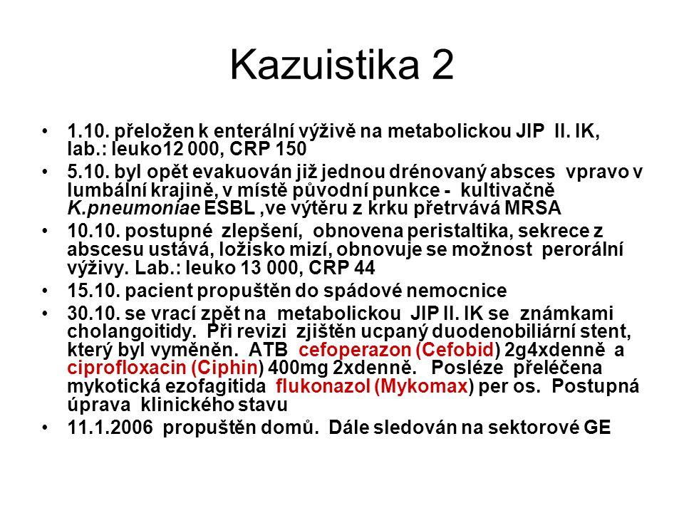 Kazuistika 2 1.10. přeložen k enterální výživě na metabolickou JIP II. IK, lab.: leuko12 000, CRP 150 5.10. byl opět evakuován již jednou drénovaný ab