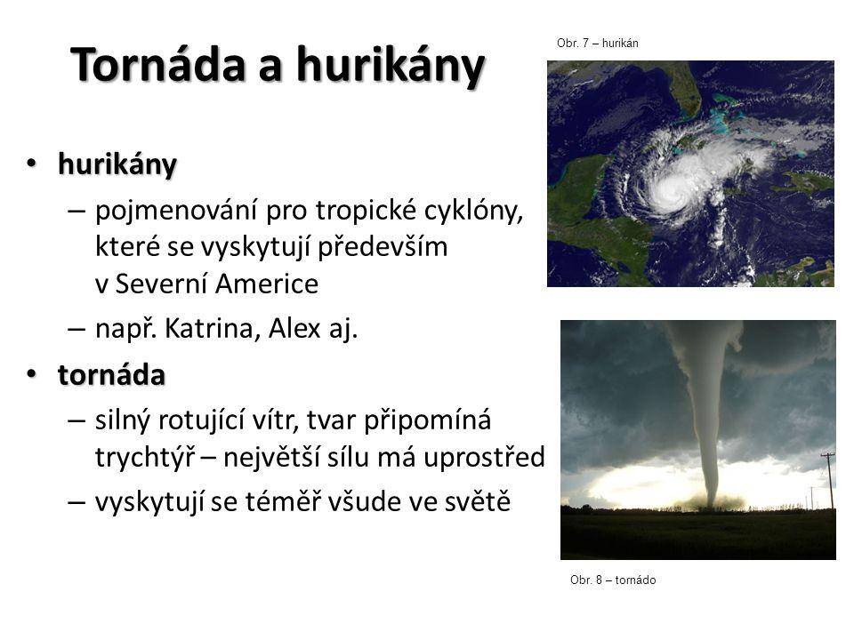 Tornáda a hurikány hurikány hurikány – pojmenování pro tropické cyklóny, které se vyskytují především v Severní Americe – např. Katrina, Alex aj. torn