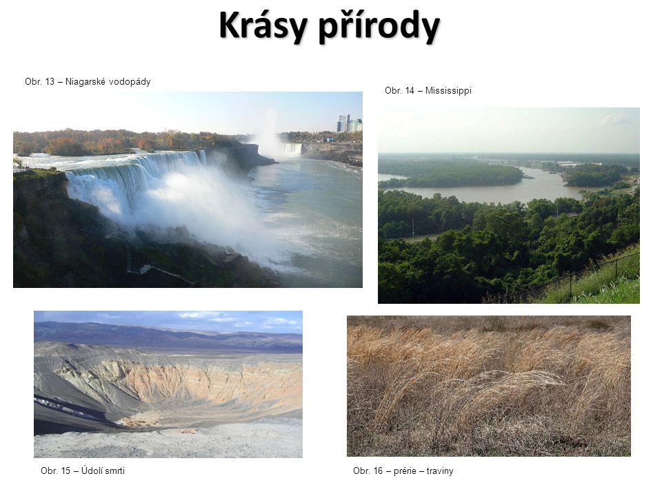 Krásy přírody Obr. 13 – Niagarské vodopády Obr. 14 – Mississippi Obr. 15 – Údolí smrtiObr. 16 – prérie – traviny