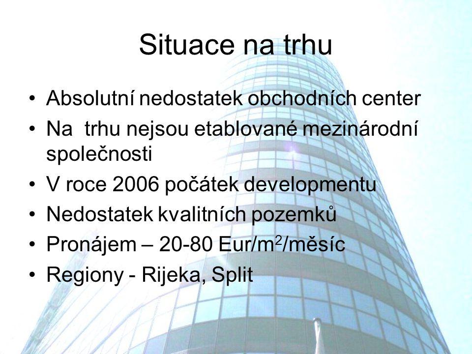 Situace na trhu Absolutní nedostatek obchodních center Na trhu nejsou etablované mezinárodní společnosti V roce 2006 počátek developmentu Nedostatek kvalitních pozemků Pronájem – 20-80 Eur/m 2 /měsíc Regiony - Rijeka, Split