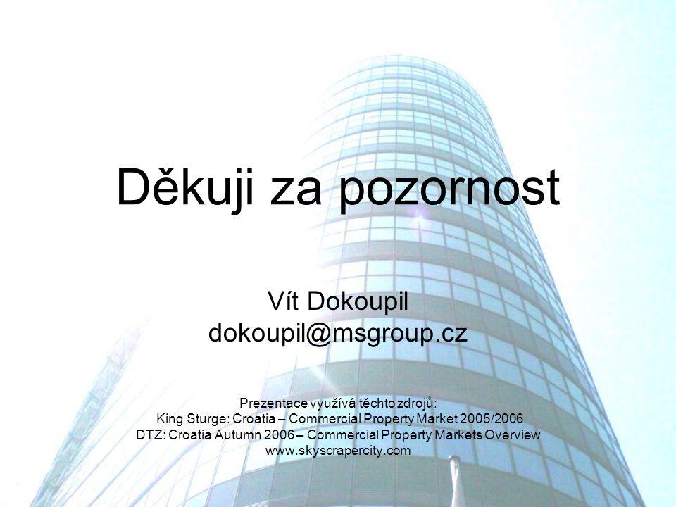 Děkuji za pozornost Vít Dokoupil dokoupil@msgroup.cz Prezentace využívá těchto zdrojů: King Sturge: Croatia – Commercial Property Market 2005/2006 DTZ: Croatia Autumn 2006 – Commercial Property Markets Overview www.skyscrapercity.com