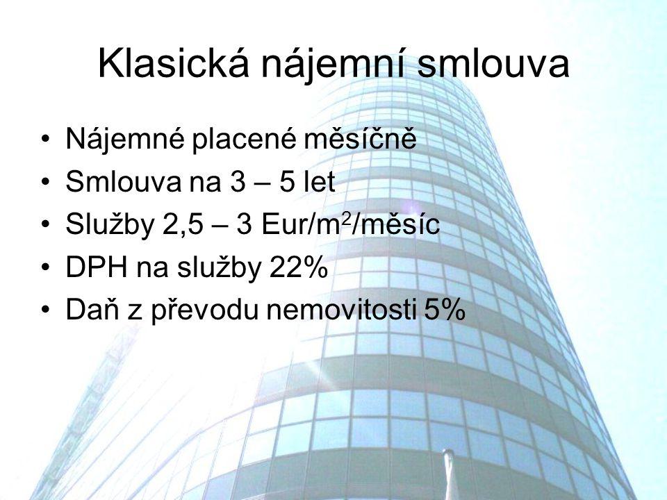 Klasická nájemní smlouva Nájemné placené měsíčně Smlouva na 3 – 5 let Služby 2,5 – 3 Eur/m 2 /měsíc DPH na služby 22% Daň z převodu nemovitosti 5%
