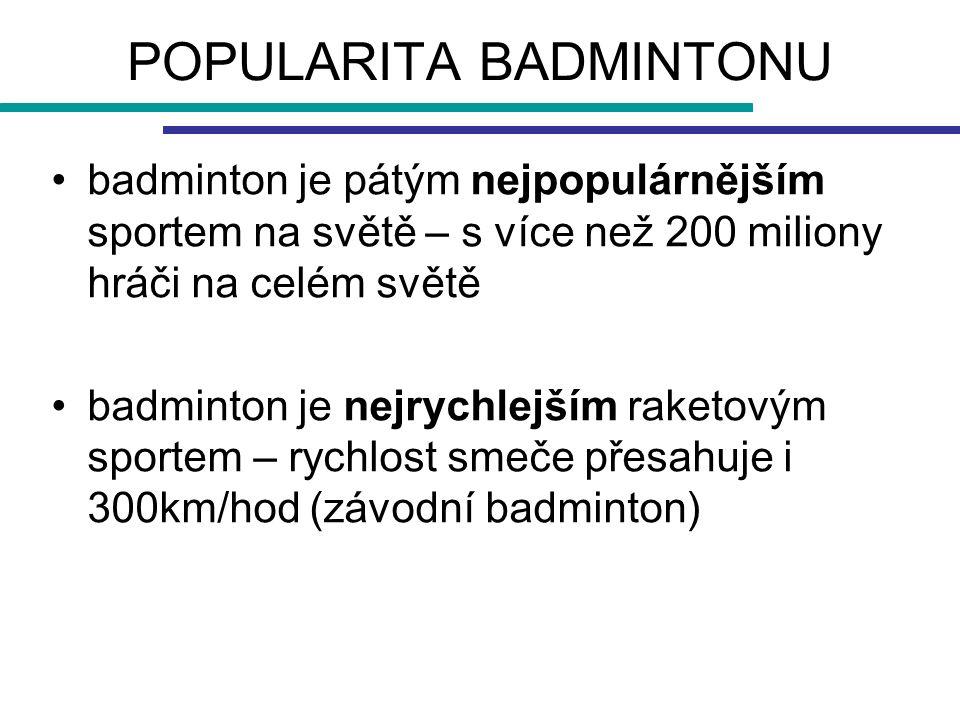 POPULARITA BADMINTONU badminton je pátým nejpopulárnějším sportem na světě – s více než 200 miliony hráči na celém světě badminton je nejrychlejším ra