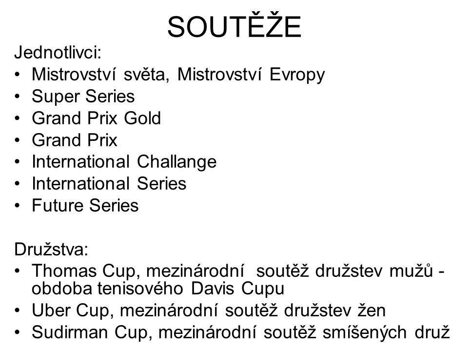 Jednotlivci: Mistrovství světa, Mistrovství Evropy Super Series Grand Prix Gold Grand Prix International Challange International Series Future Series