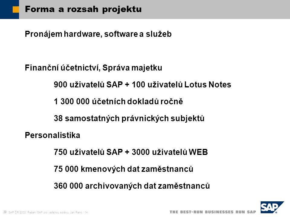  SAP ČR 2003, Řešení SAP pro veřejnou správu, Jan Renc / 14 Forma a rozsah projektu Pronájem hardware, software a služeb Finanční účetnictví, Správa