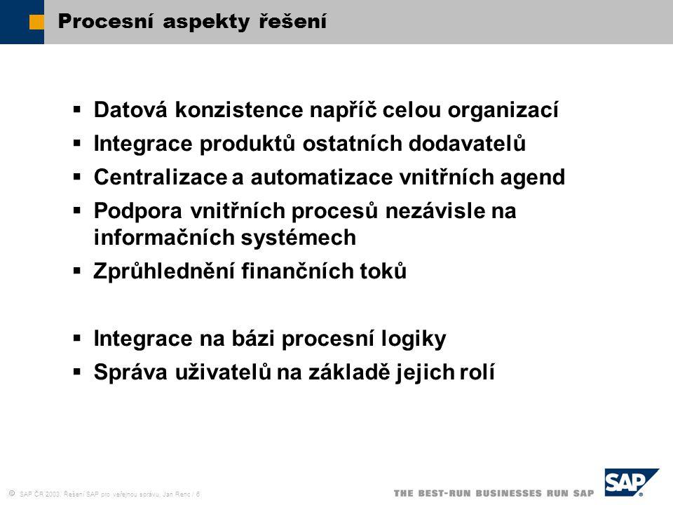  SAP ČR 2003, Řešení SAP pro veřejnou správu, Jan Renc / 7 Technické aspekty řešení  Variabilní uživatelské rozhraní  Nezávislost na dodavatelích HW a DB  Certifikace spolupracujících produktů třetích stran  Elektronický podpis Důraz na bezpečnost  Standardní systémy s celosvětovou podporou  Česká lokalizace (včetně podpory legislativy)