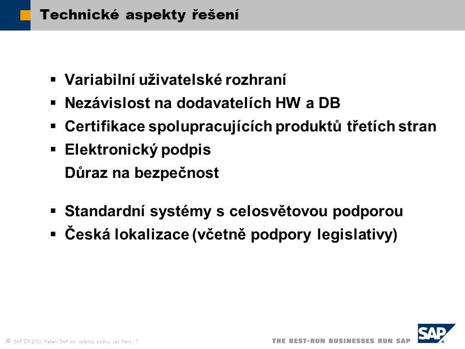  SAP ČR 2003, Řešení SAP pro veřejnou správu, Jan Renc / 7 Technické aspekty řešení  Variabilní uživatelské rozhraní  Nezávislost na dodavatelích H