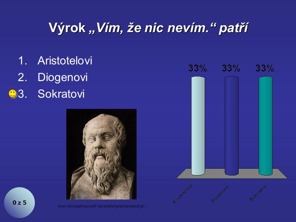 """Výrok """"Vím, že nic nevím. patří 0 z 5 1.Aristotelovi 2.Diogenovi 3.Sokratovi www.michaelmaxwolf.de/antike/griechenland/gri..."""
