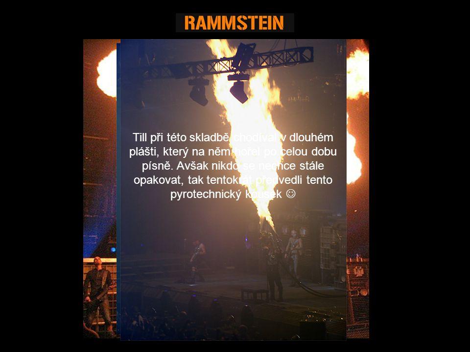 """Při skladbě """"Mein Teil [Můj díl] se Till převlékne do řeznického kostýmu, v ruce má stylově mikrofon v podobě řeznické kudly… Píseň je reakcí na německého kanibala Armina Meiwese Klávesista Flake je vhozen do velkého kotle a Till jej pomocí plamenometu """"pěkně smaží (viz."""