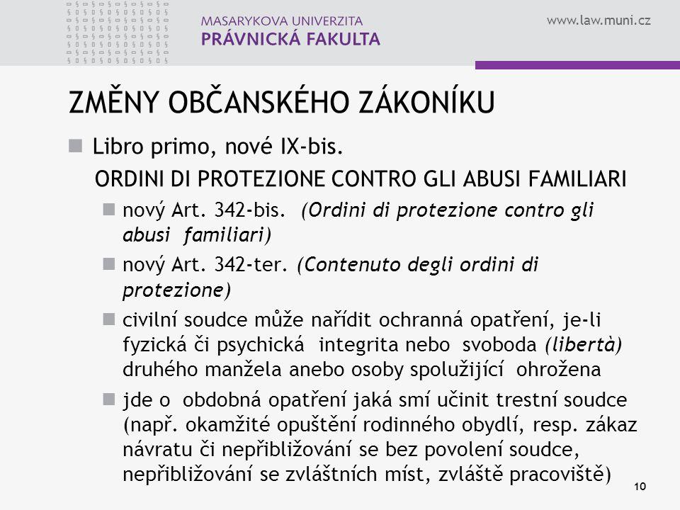 www.law.muni.cz ZMĚNY OBČANSKÉHO ZÁKONÍKU Libro primo, nové IX-bis.