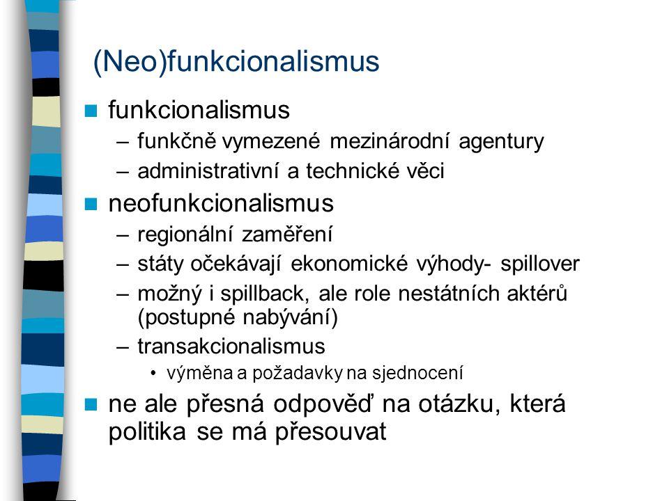 (Neo)funkcionalismus funkcionalismus –funkčně vymezené mezinárodní agentury –administrativní a technické věci neofunkcionalismus –regionální zaměření –státy očekávají ekonomické výhody- spillover –možný i spillback, ale role nestátních aktérů (postupné nabývání) –transakcionalismus výměna a požadavky na sjednocení ne ale přesná odpověď na otázku, která politika se má přesouvat