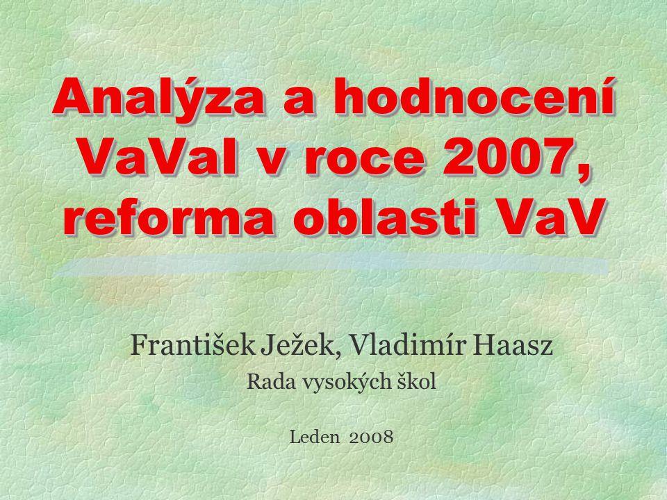Analýza a hodnocení VaVaI v roce 2007, reforma oblasti VaV František Ježek, Vladimír Haasz Rada vysokých škol Leden 2008