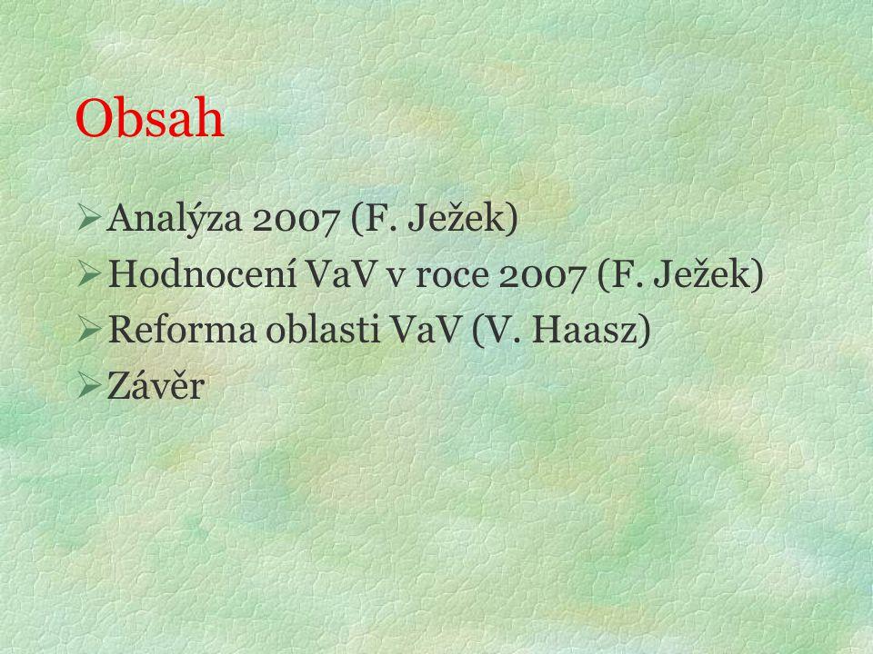 Obsah  Analýza 2007 (F. Ježek)  Hodnocení VaV v roce 2007 (F.