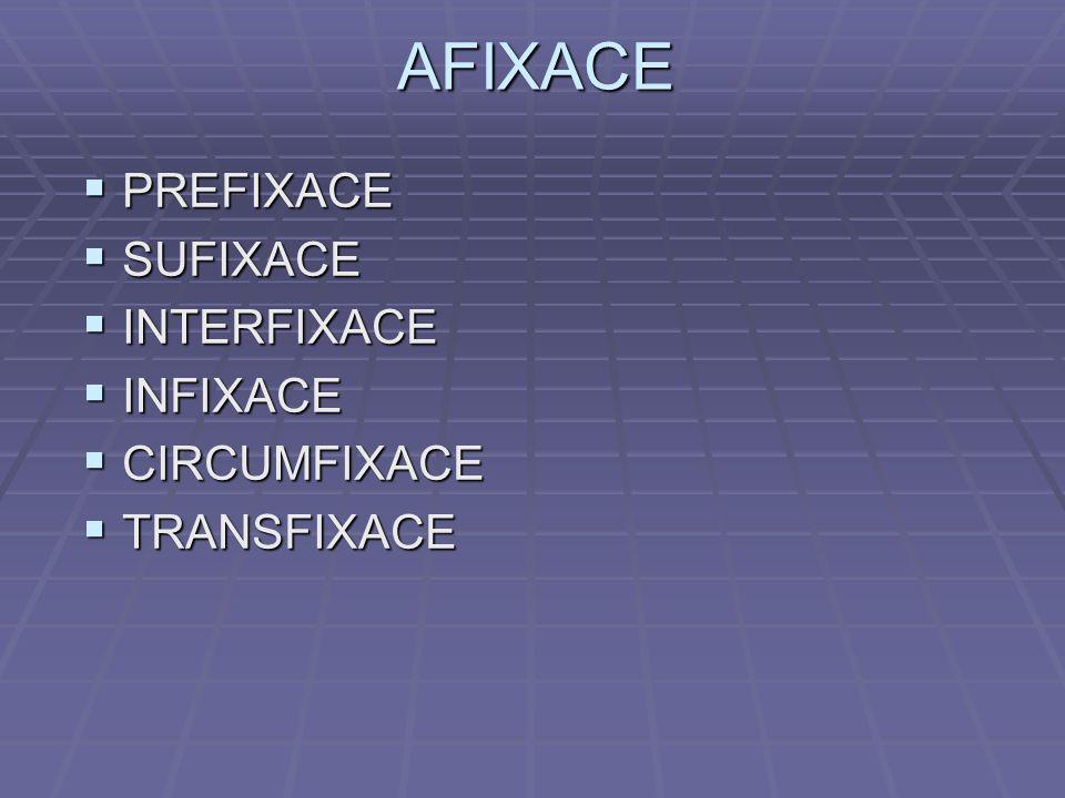 AFIXACE  PREFIXACE  SUFIXACE  INTERFIXACE  INFIXACE  CIRCUMFIXACE  TRANSFIXACE
