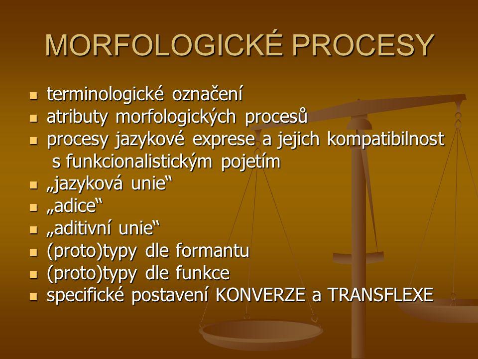 MORFOLOGICKÉ PROCESY terminologické označení terminologické označení atributy morfologických procesů atributy morfologických procesů procesy jazykové