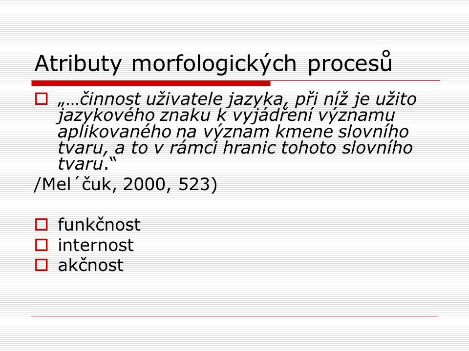 """Atributy morfologických procesů  """"…činnost uživatele jazyka, při níž je užito jazykového znaku k vyjádření významu aplikovaného na význam kmene slovn"""