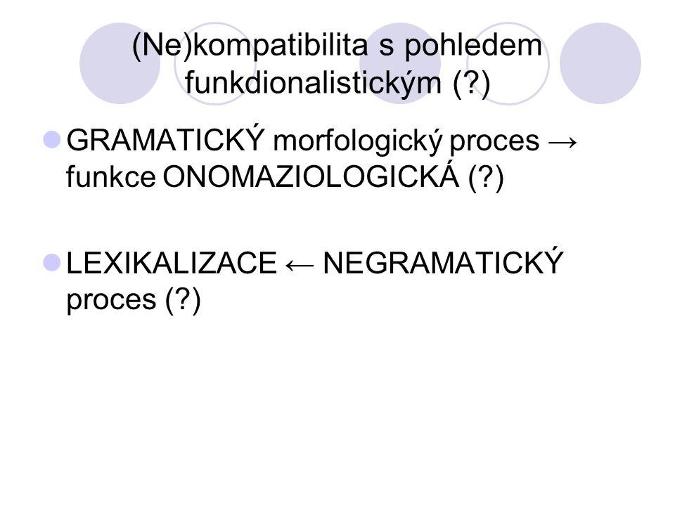 (Ne)kompatibilita s pohledem funkdionalistickým (?) GRAMATICKÝ morfologický proces → funkce ONOMAZIOLOGICKÁ (?) LEXIKALIZACE ← NEGRAMATICKÝ proces (?)
