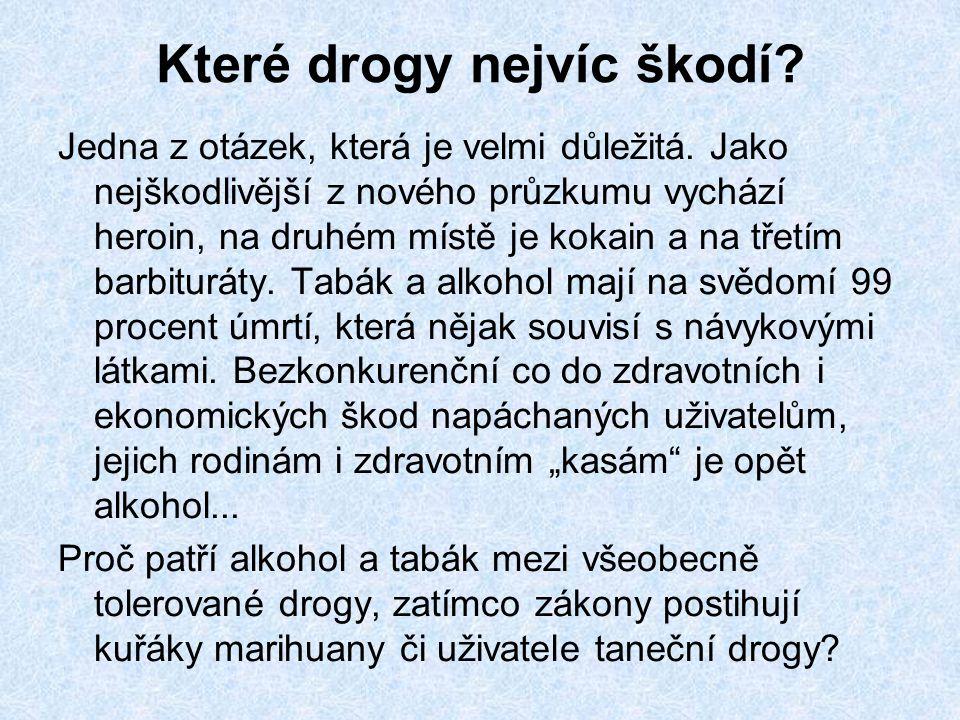 Které drogy nejvíc škodí.Jedna z otázek, která je velmi důležitá.