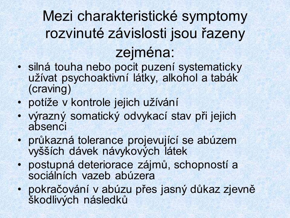 Mezi charakteristické symptomy rozvinuté závislosti jsou řazeny zejména: silná touha nebo pocit puzení systematicky užívat psychoaktivní látky, alkoho