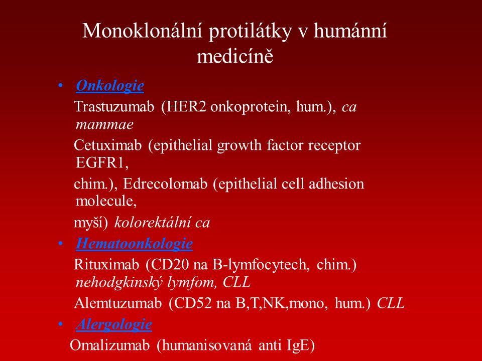 Monoklonální protilátky v humánní medicíně Onkologie Trastuzumab (HER2 onkoprotein, hum.), ca mammae Cetuximab (epithelial growth factor receptor EGFR