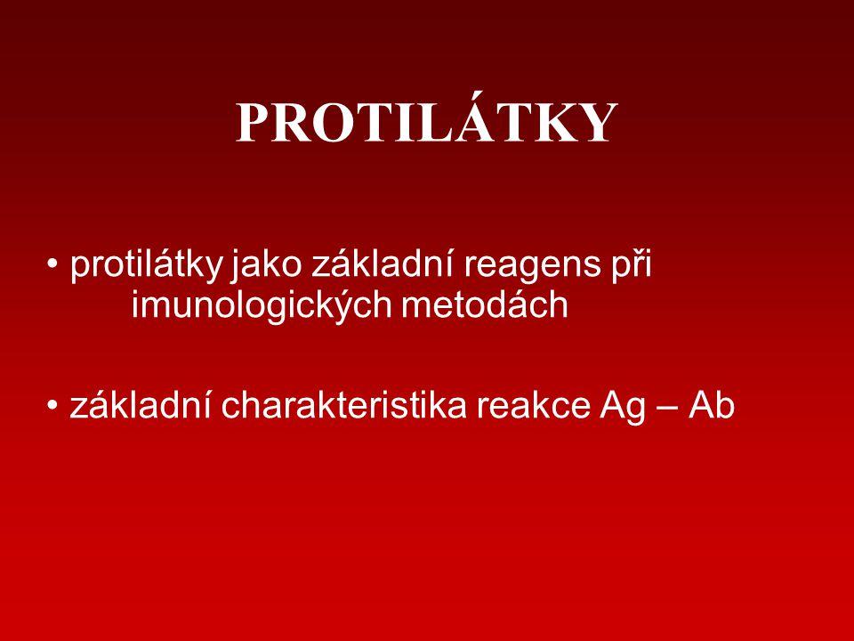 Obecné principy reakce Ag - Ab Antigen – látka schopná vyvolat imunitní reakci vazebné místo: EPITOP (antigenní determinanta) Protilátka vazebné místo: PARATOP AFINITA (epitop s paratopem) a AVIDITA nativní rekombinantní monoklonální polyklonální