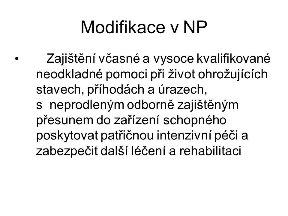 Modifikace v NP Zajištění včasné a vysoce kvalifikované neodkladné pomoci při život ohrožujících stavech, příhodách a úrazech, s neprodleným odborně z