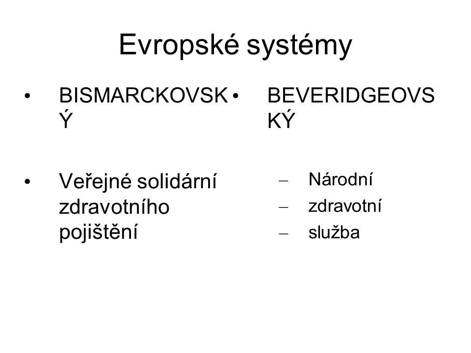 Evropské systémy BISMARCKOVSK Ý Veřejné solidární zdravotního pojištění BEVERIDGEOVS KÝ – Národní – zdravotní – služba