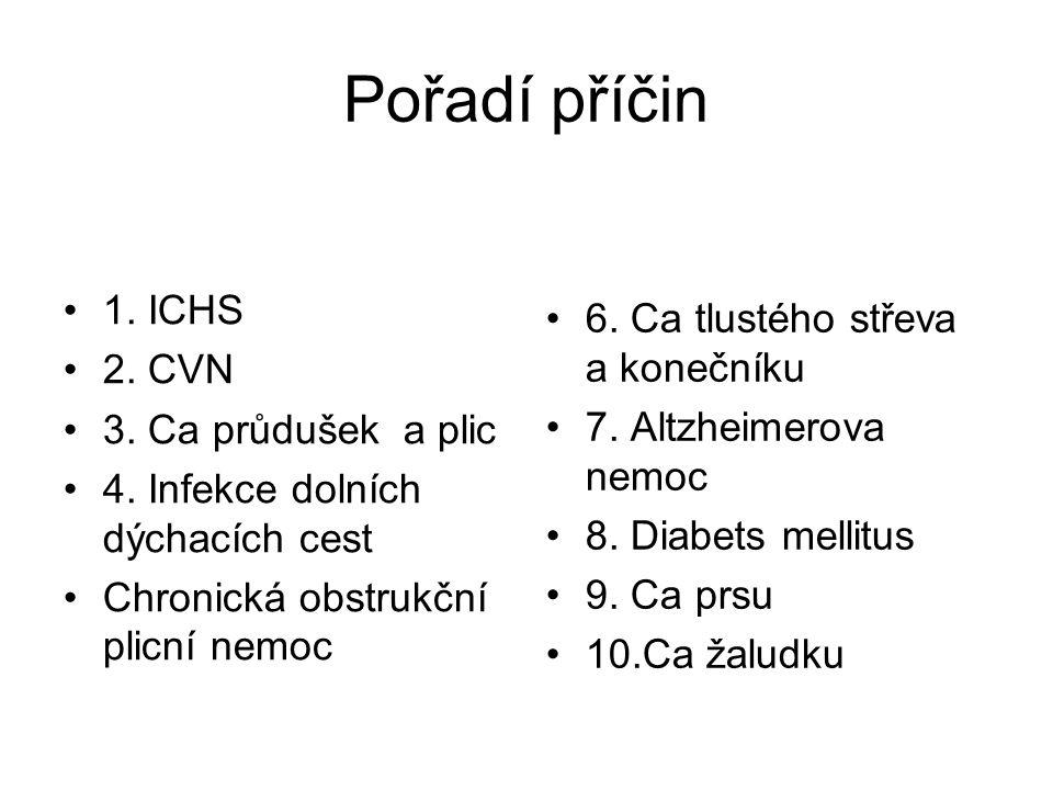Pořadí příčin 1. ICHS 2. CVN 3. Ca průdušek a plic 4. Infekce dolních dýchacích cest Chronická obstrukční plicní nemoc 6. Ca tlustého střeva a koneční