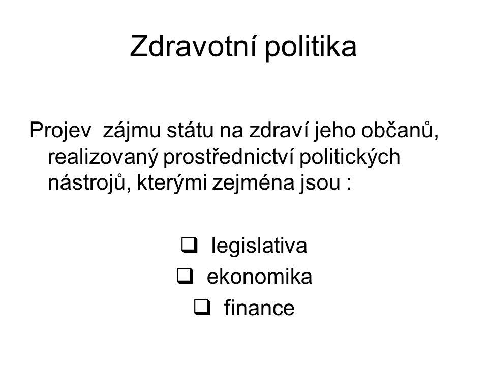 Zdravotní politika Projev zájmu státu na zdraví jeho občanů, realizovaný prostřednictví politických nástrojů, kterými zejména jsou :  legislativa  e