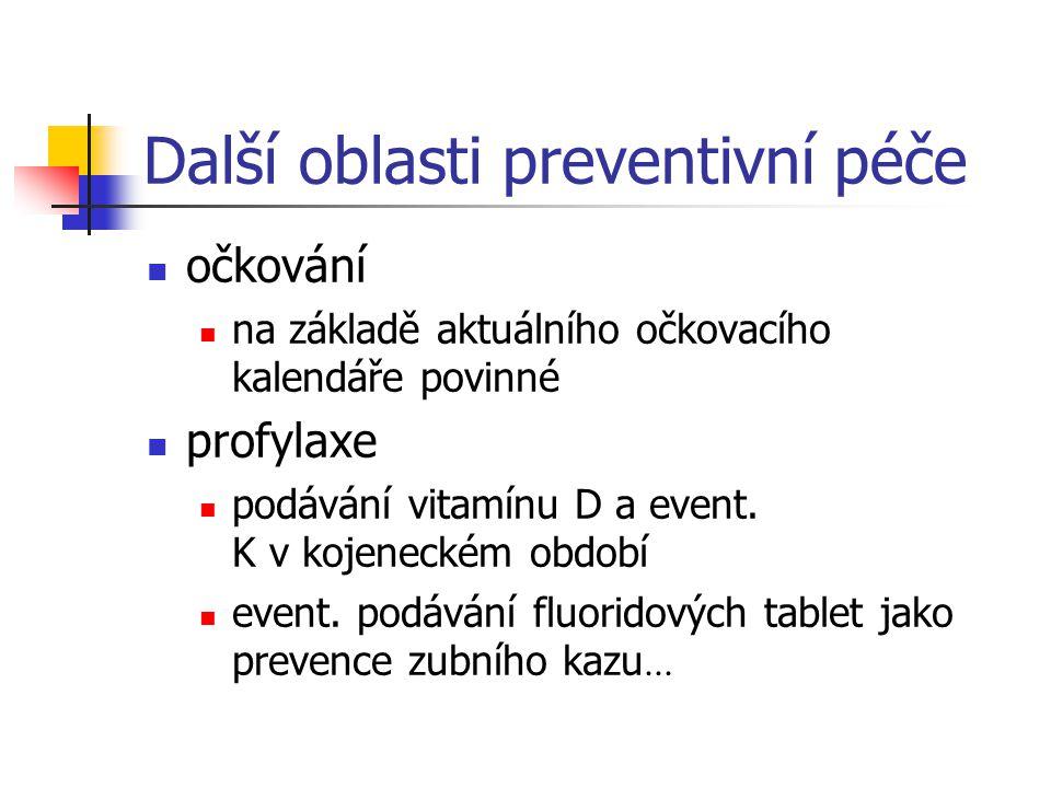Další oblasti preventivní péče očkování na základě aktuálního očkovacího kalendáře povinné profylaxe podávání vitamínu D a event. K v kojeneckém obdob