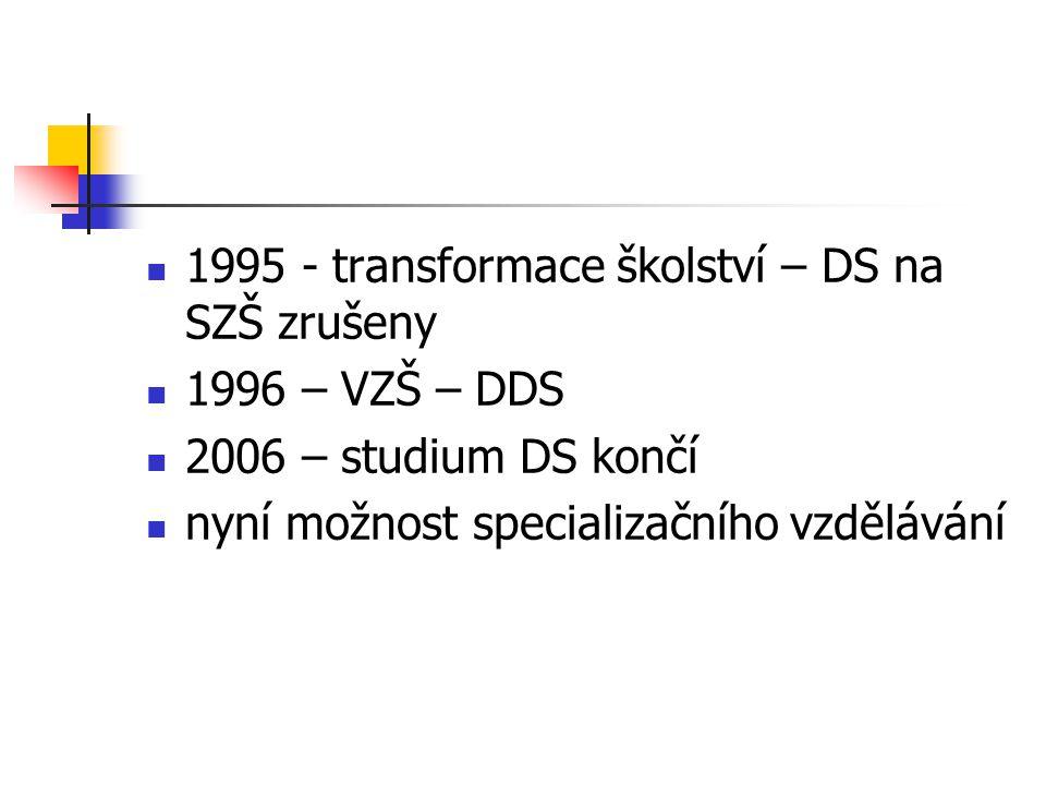 1995 - transformace školství – DS na SZŠ zrušeny 1996 – VZŠ – DDS 2006 – studium DS končí nyní možnost specializačního vzdělávání