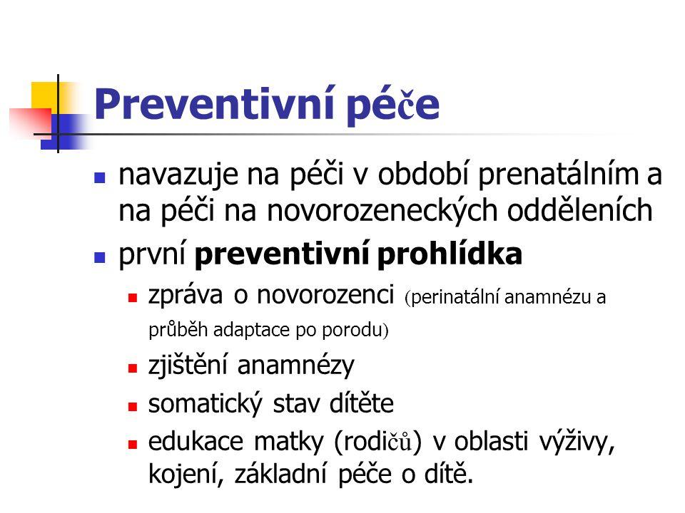 Preventivní pé č e navazuje na péči v období prenatálním a na péči na novorozeneckých odděleních první preventivní prohlídka zpráva o novorozenci ( pe